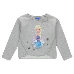 Κοντό φούτερ από φανέλα χνουδωτή στο εσωτερικό, με φιόγκο και τύπωμα με τη βασίλισσα του χιονιού της Disney