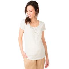 Κοντομάνικη μπλούζα εγκυμοσύνης με μελανζέ όψη και χρυσαφί νερά