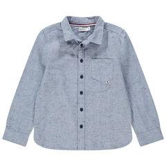 Μακρυμάνικο πουκάμισο από βαμβακερό μπουκλέ ύφασμα με τσέπη
