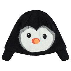 Πλεκτός σκούφος με βελουτέ μοτίβο πιγκουίνο και βελουτέ επένδυση