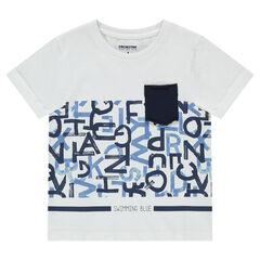 Κοντομάνικη μπλούζα με τυπωμένα γράμματα και τσέπη
