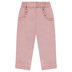 Παντελόνι σε φαντεζί πλέξη με βολάν στις τσέπες