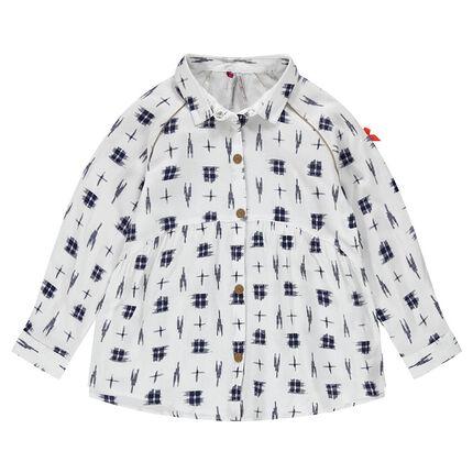 Μακρυμάνικο πουκάμισο σε φαντεζί ύφανση.