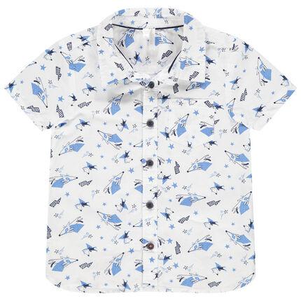 Κοντομάνικο πουκάμισο με εμπριμέ μοτίβα