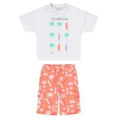 Σύνολο μπλούζα με στάμπα φοίνικες και σερφ και ριγέ βερμούδα