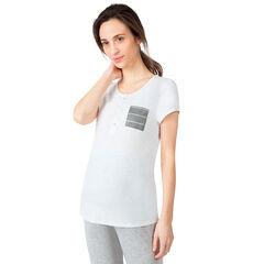 Κοντομάνικη μπλούζα εγκυμοσύνης και θηλασμού με ριγέ τσέπη