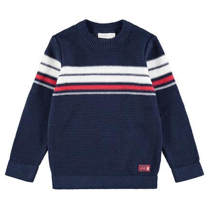 Πλεκτό πουλόβερ με ζακάρ λωρίδες σε αντίθεση