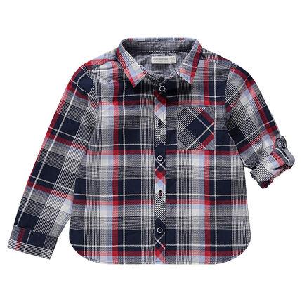 Μακρυμάνικο πουκάμισο με καρό και πλακέ τσέπη