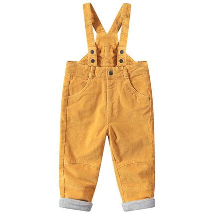 Κίτρινο κοτλέ παντελόνι με ρυθμιζόμενες τιράντες