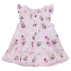 Κοντομάνικο φόρεμα με βολάν και αρκουδάκια σε όλη την επιφάνεια