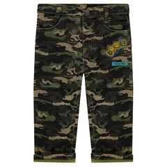 Παντελόνι με μιλιτέρ μοτίβο και απλικέ σήματα ©Smiley