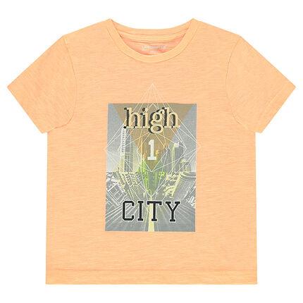 Κοντομάνικη μπλούζα από ζέρσεϊ slub ύφασμα με τύπωμα κτίρια