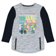 Παιδικά - Μακριά μακρυμάνικη μπλούζα με φερμουάρ και τύπωμα