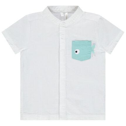 Κοντομάνικο πουκάμισο με μάο γιακά και τσέπη σε σχήμα ψαριού