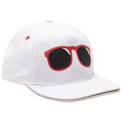Ριγέ καπέλο από τουίλ ύφασμα με τύπωμα γυαλιά και διπλό γείσο
