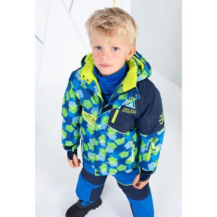 Δίχρωμο μπουφάν του σκι με φερμουάρ στις τσέπες και τυπωμένες λωρίδες