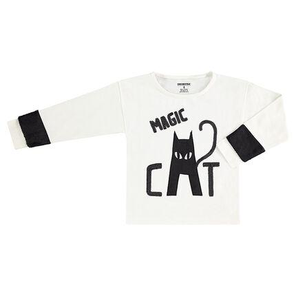 Μακρυμάνικη ζέρσεϊ μπλούζα με μαύρες πούλις και γάτα από sherpa