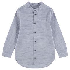 Μακρυμάνικο βαμβακερό πουκάμισο με μάο γιακά και μελανζέ όψη