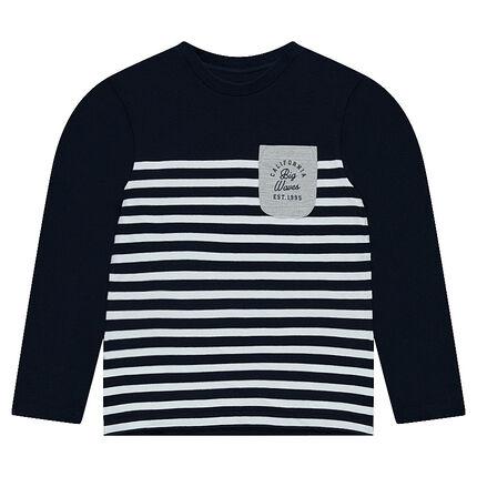 Παιδικά - Μακρυμάνικη μπλούζα από ζέρσεϊ σε στυλ μαρινιέρας