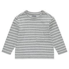 Μακρυμάνικη μπλούζα από ζέρσεϊ ριγέ με τσέπη