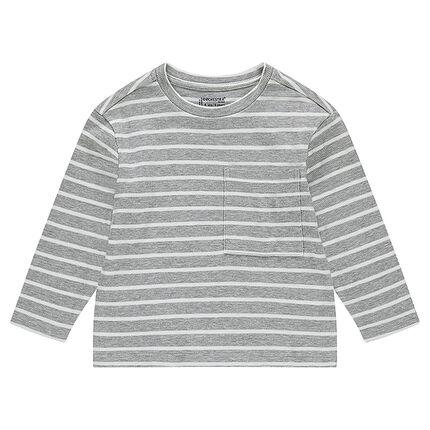 00c1954704c2 Μακρυμάνικη μπλούζα από ζέρσεϊ ριγέ με τσέπη - Orchestra GR