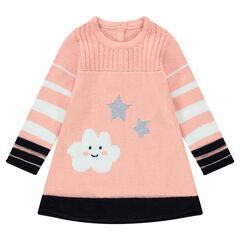 Μακρυμάνικο πλεκτό φόρεμα με ζακάρ μοτίβα σύννεφο και αστέρια