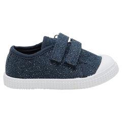 Υφασμάτινα μπλε χαμηλά αθλητικά παπούτσια μελανζέ με γυαλιστερές κλωστές, σε νούμερα 24 έως 29