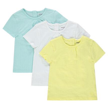 Σετ 3 μονόχρωμες κοντομάνικες μπλούζες από ζέρσεϊ