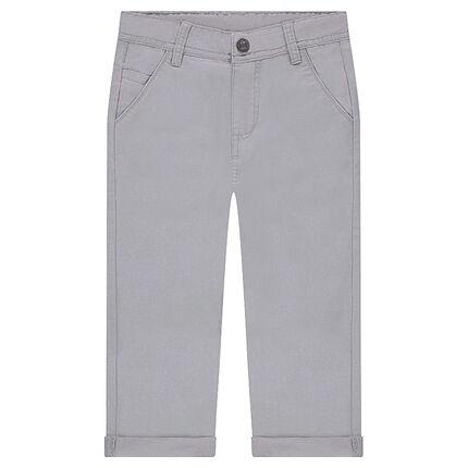 Λευκό παντελόνι βαμβακερό σε ριγωτή ύφανση