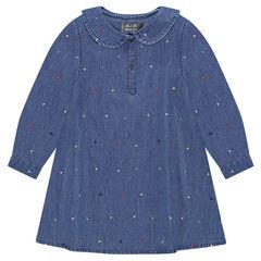 Φόρεμα από σαμπρέ ύφασμα με στρογγυλό γιακαδάκι και κεντημένο μοτίβο