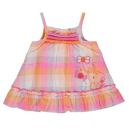 Καρό βαμβακερό φόρεμα