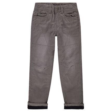 Ίσιο παντελόνι από βαμβακερή ποπλίνα με επένδυση φλις