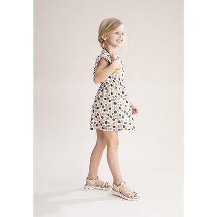 Φόρεμα με κοντό μανίκι και χρωματιστά πουά και χρυσές λεπτομέρειες.