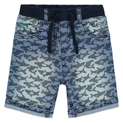 Τζιν βερμούδα με μοτίβο καρχαρίες