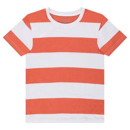 Παιδικά - Κοντομάνικη μπλούζα με λωρίδες σε χρώμα που κάνει αντίθεση