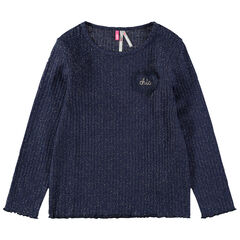 Μακρυμάνικη μπλούζα με χρυσαφί ίνες για μελανζέ όψη και κεντημένο σήμα
