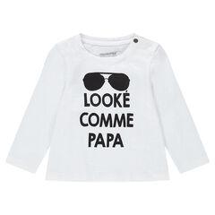 Μακρυμάνικη μπλούζα από ζέρσεϊ με στάμπα και σούστες στη λαιμόκοψη
