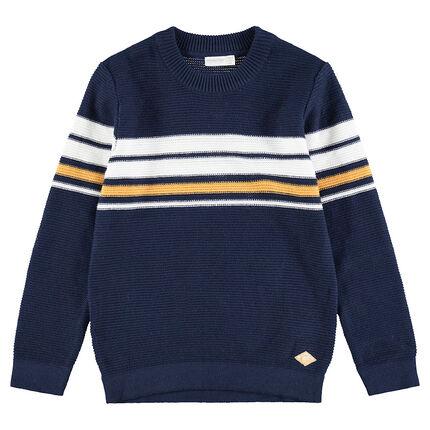 Πλεκτό πουλόβερ με λωρίδες σε χρώμα που κάνει αντίθεση