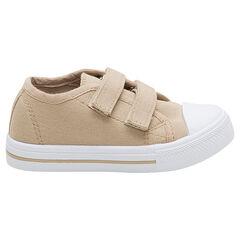 Χαμηλά μονόχρωμα μπεζ υφασμάτινα αθλητικά παπούτσια με αυτοκόλλητο velcro, σε νούμερο 24 έως 27