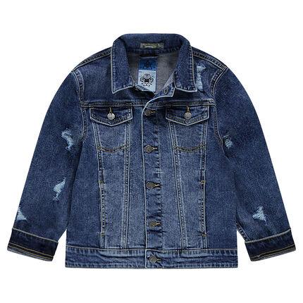 Παιδικά - Τζιν μπουφάν με φθαρμένη όψη και τσέπες