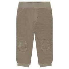 Βελουτέ παντελόνι με λάστιχο στη μέση και επιγονατίδες