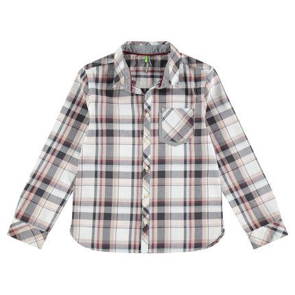 Μακρυμάνικο βαμβακερό καρό πουκάμισο