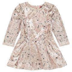 Βελούδινο εμπριμέ φόρεμα με φαντεζί βολάν