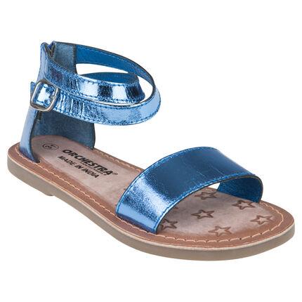 Nu-pieds bleus en cuir effet métallisé du 20 au 23