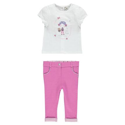 Ensemble avec tee-shirt print poupée et pantalon en molleton