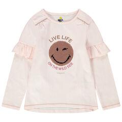 Μακρυμάνικη ζέρσεϊ μπλούζα με βολάν και Smiley από «μαγικές» πούλιες