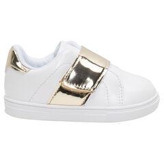 Χαμηλά αθλητικά παπούτσια από συνθετικό δέρμα με χρυσαφί φάσες, από 20 έως 23