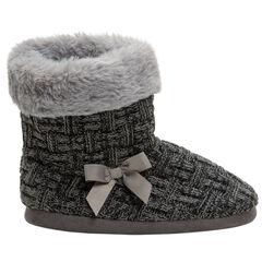 Chaussons forme bottes en tricot avec doublure en fausse fourrure
