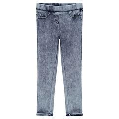 Εφαρμοστό παντελόνι-κολάν με όψη used ντένιμ