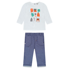 Σύνολο με μακρυμάνικη μπλούζα με στάμπες και παντελόνι από σαμπρέ ύφασμα
